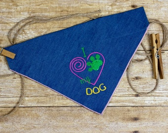 "Slip-On Pet Bandana (Embroidered ""I <3 My Dog"" Pink Spiral)"