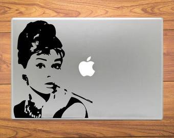 Audrey Hepburn Classic Macbook Decal Stickers Mac Pro / Air / Retina Sizes 13 / 15 / 17 Laptop Cover