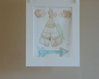 "Original drawing - room ""Teepee"" - small pencil drawing watercolor depicting a teepee and arrow - Decoration"