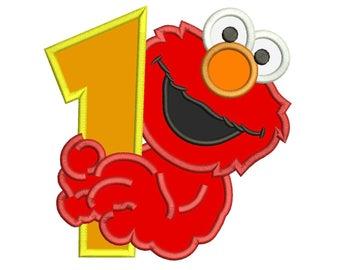 Elmo 1st Birthday Applique Design 3 sizes for Instant Download
