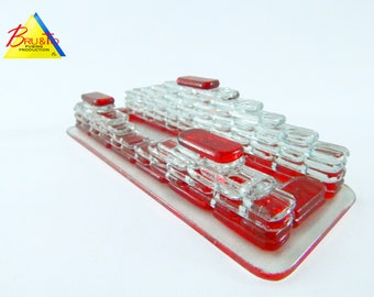 Visit cards glass-stand holder.#0221, bright red. Visit card holder.