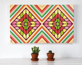 Large Abstract Canvas Print/ Original Art/ Shape Collage Canvas Print/ Modern Art/ Wall Decor Bedroom/ Abstract Modern Art