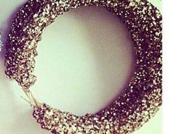 Glitter rose gold crystal hoop earrings