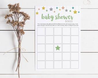 Colorful Baby Shower Bingo, Gender Neutral Baby Shower Bingo Cards