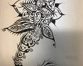 "Pen and ink s""Swimming Flower"""