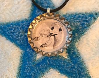 Cute turtle charm bottle cap necklace