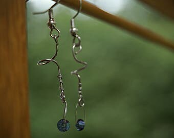 Twisted Blue Jewel Earrings