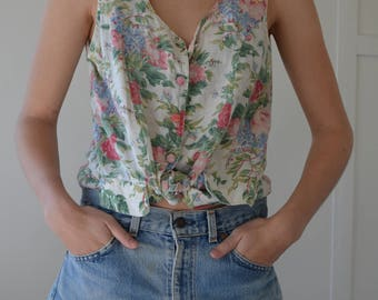 Floral Vintage Button Up Singlet Top / Size M 6 8 10 / Cotton Blend