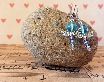 Blue and purple dragonfly earrings