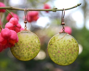 """Earrings """"Copper speckles"""" handmade with watercolor, paper"""