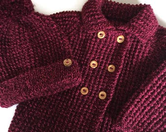 """Vintage style baby coat and matching bobble hat, to fit chest size 18"""", one only, hand knitted, baby shower gift, immediate shipping"""
