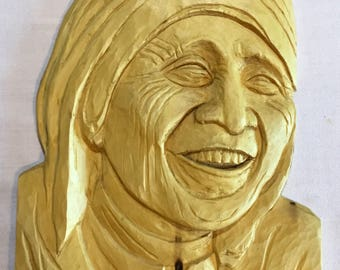 Mother Theresa Woodcarving in Relief
