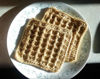Crochet Waffle dish cloth: set of 2