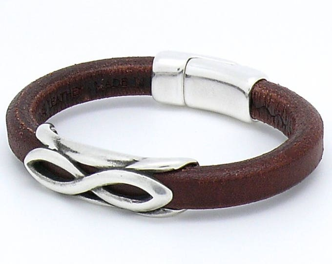 Mens Bracelet by Robert Brown leather with antique silver infinity scroll beading and magnetic closure.