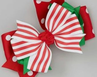 Xmas striped bow