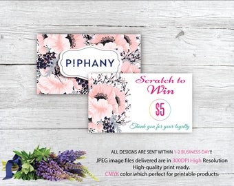 Piphany Scratch to win, Scratch Off Cards Piphany, Custom Piphany Scratch Card, Piphany Marketing, Printable Card HN989