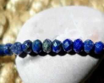 Lapis lazuli - set of 10 faceted rondelle 3 x 3, 5 mm