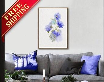 Blue Flower Wall Art Room Decor Blue Flower Art Print, Living Room Decor Blue Flower Wall Art Print Room Decor Original Gift Idea (Q9000)