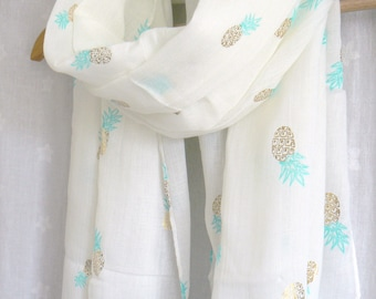 Gold Pineapple Print Scarf White Green Yellow Tropical Summer