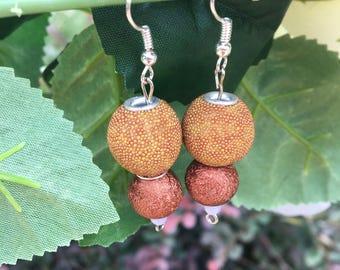 Gold beaded ball earrings
