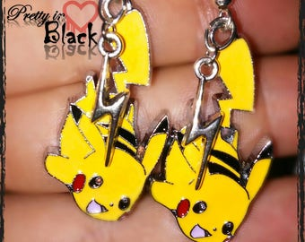 Pikachu earrings. Pokemon earrings. Pikachu energy dangle earrings. Pokemon go. Pokemon jewelry.