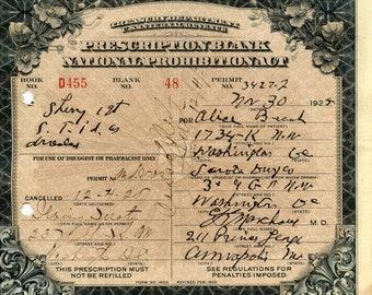 RARE Sherry Prohibition Prescription From Washington D.C