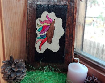 Horse Painting on Wood Rainbow Horse Wall Art Abstract Horse Wood Art Painting Colorful Horse Art Reclaimed Wood Painted sign Birthday gift