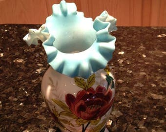Vintage hand painted blue ruffled (gold trim) vase