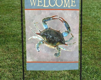 """Blue Crab Garden Flag, Welcome, watercolor background, seafood, coastal, nautical,   12""""x18"""""""