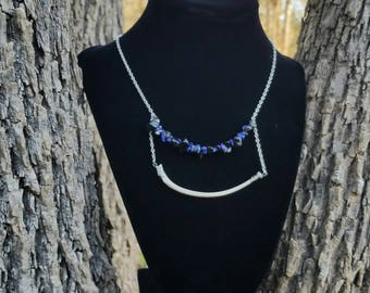 Real onyx, lapis, and bone necklace