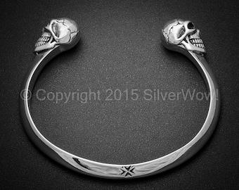 Skull Cuff Bangle 925 Sterling Silver