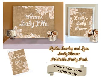Great Burlap Baby Shower Decorations Package, Custom Rustic Burlap And Lace Baby  Shower Party Package
