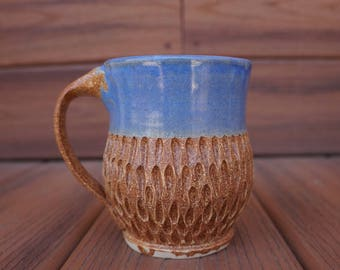 Handmade Blue and Brown Ceramic Mug, Hand Carved Coffee Cup, Soup Cup, Stoneware Coffee Mug, Pottery Mug 20 fl oz