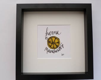 23cmx23cm, Classic Home Is Manchester Box Frame
