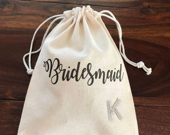 Bridal Cotton Pouch with Letter, Personalized Bridal Gift, Initial Bridal Gift, Canvas Pouch
