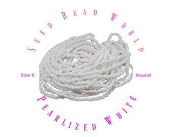Pearlized White Seed Beads size 8/0