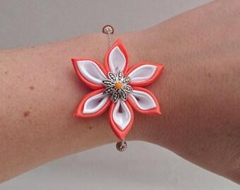 Orange and white kanzashi flower chain bracelet.
