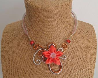 Orange aluminum pendant necklace / silver and satin flower