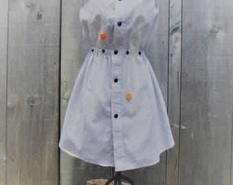Hand Made Upcycled Girl's shirt dress from a men's shirt, Black, white and orange dress, age 7.