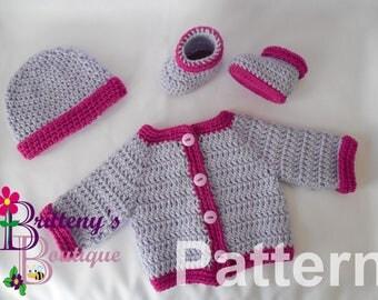 Baby Sweater Crochet Pattern / Baby Cardigan Crochet Pattern / Baby Layette Set Crochet Pattern / Two Tone Baby Sweater Crochet Pattern
