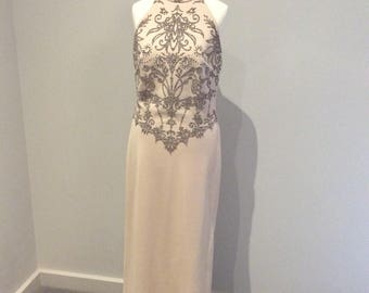 Vintage 1980's Joseph Ribkoff beaded evening dress UK 10