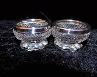 Antique 2 cut glass silver hallmarked mounted open salts H. P. & S. London 1927