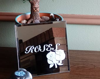 Roses Etched Mirror