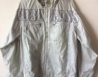Vintage Fubu Nylon Jacket Big Logo Spell Out Embroidery