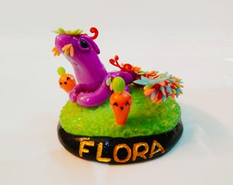Floral Dragon of Mother Nature in Land of Kawaii Carrots Figurine, Handmade Clay Craft Dragons Collection, Fantasy Creatures Collectibles