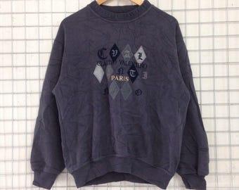 Vintage Claudio Valentino Paris Sweatshirts Embroidery Logo Nice Design