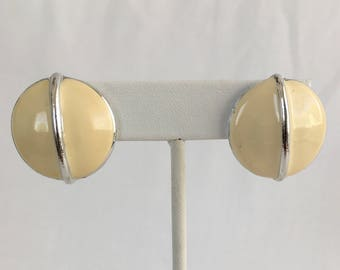 Monet Dome Button Ivory Enamel With Silver Tone Line Across Pierced Vintage Earrings