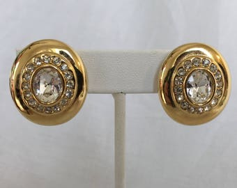 Oval Gold Tone Large Clear Rhinestone Dome Vintage Clip Earrings