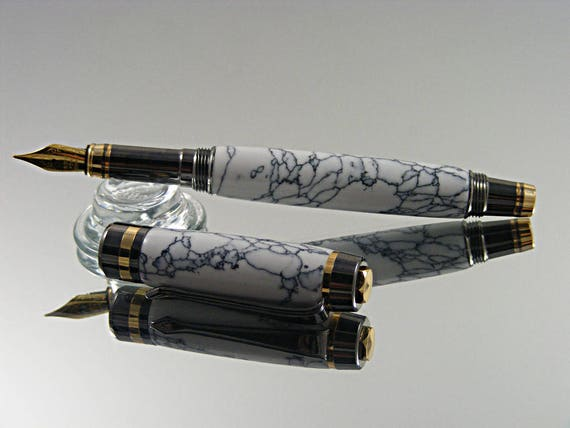 Classic Elite Fountain Pen in 24K Gold and Gunmetal with TruStone