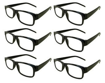 Mr. Reading Glasses 6 Black Plastic Frame Men/Women Vintage Reader Wholesale +1.50